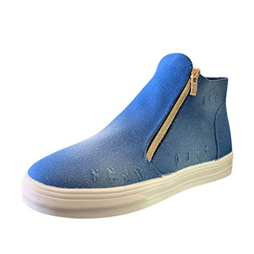 Affordable Sumeimiya Womens Denim Boot Plus Size Casual High Top Zipper Ankle Bootie Round Toe Flat ...
