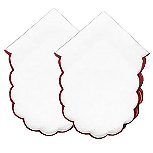 Bread Basket Liners Cloth Bun Warmers White with Scalloped Edges Color Trim 18 X 18 Inch (Set of 2)