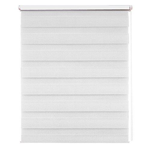 MCTECH® Doppelrollo Duo Rollo Klemmfix ohne Bohren Fenster-Rollo Springrollos mit Klemmträger (90 x 150 cm, Weiß)