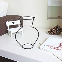 ホームパーティーデコレーション花瓶抽象的な黒い線ミニマリスト抽象的な鉄の花瓶ドライフラワー花瓶ラック北欧の花の装飾品-タイプd 、、タイプd