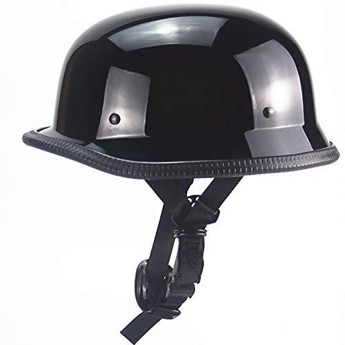 ZJRA Deutsch Motorrad Hälfte Gesicht Retro Persönlichkeit Fahrrad Cruiser Chopper Hälfte Bedeckt Prinz Helm Für Erwachsene,M55~56cm