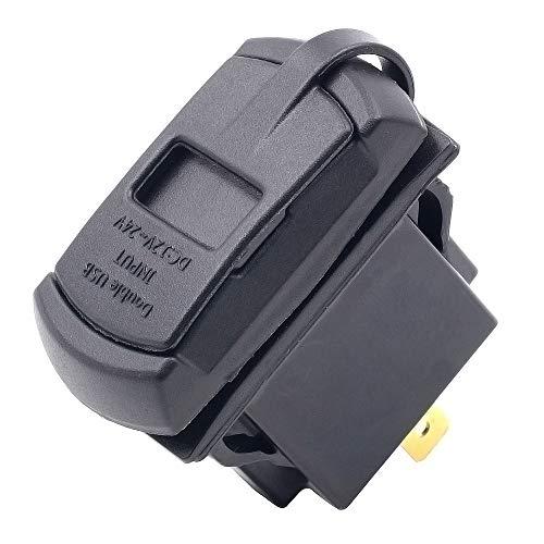 Shengjuanfeng Chargeur USB pour Voiture Chargeur USB 12V / 24V Double Port étanche avec Adaptateur de Chargeur de Voiture voltmètre de Tension (Color : Blue Light)
