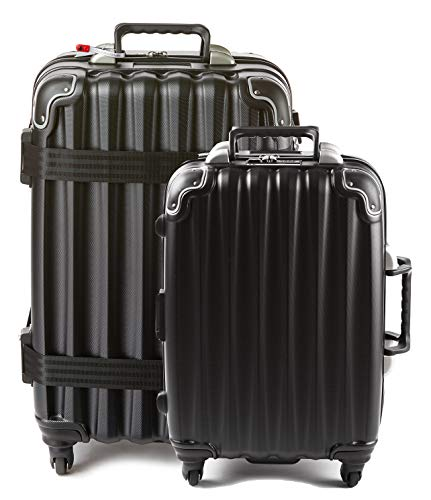 Bundle - 2 items: VinGardeValise Wine Travel Suitcase 12 & 5-bottle - Grande 05 and Piccolo 01, Black
