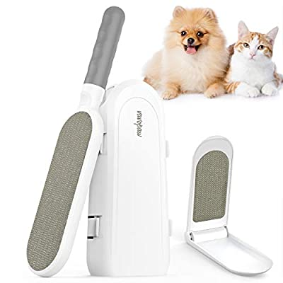 VavoPaw Pet Hair Remover, Efficient Double-Sided Lint Brush with Upgraded Self Cleaning Base, Reusable Dog & Cat Hair Remover Brush for Couch, Car Seat, Carpet, Clothing, Furniture, White&Gray