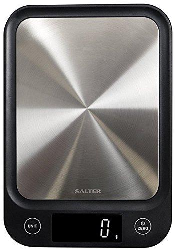 Salter Báscula de Cocina Digital Electrónica, Diseño Fino, Añadir y Pesar Función Pesar los Liquidos, Pantalla LCD Negro
