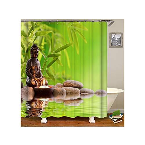 ANAZOZ Duschvorhang Wasserdicht Waschbar Badewanne Vorhänge Anti-Schimmel Polyester Zen Stone Bamboo Bad Vorhang für Badezimmer Badewanne Grün 165X180CM A9239
