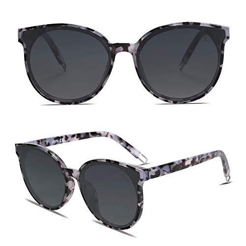SOJOS Rotondi Occhiali da Sole Donna Vogue Moda vintage Specchiati SJ2057 Marmo Nero Telaio/Grigio Sfumata Lente