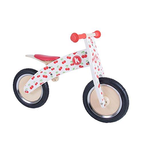 Kiddimoto Kurve Premium Kinder Laufrad / Lauflernrad / Kinderlaufrad 12 Zoll mit Luftbereifung ab 3 Jahre, Kirsche