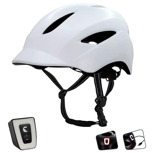 Fahrradhelm für Herren, Damen, Jungen & Mädchen I Mit per USB-aufladbarem LED-Licht I Reflektierende Gurtbänder für mehr Sicherheit I Leichter Stadt-Fahrradhelm I Größe 54-58 (M) & 58-61 (L)