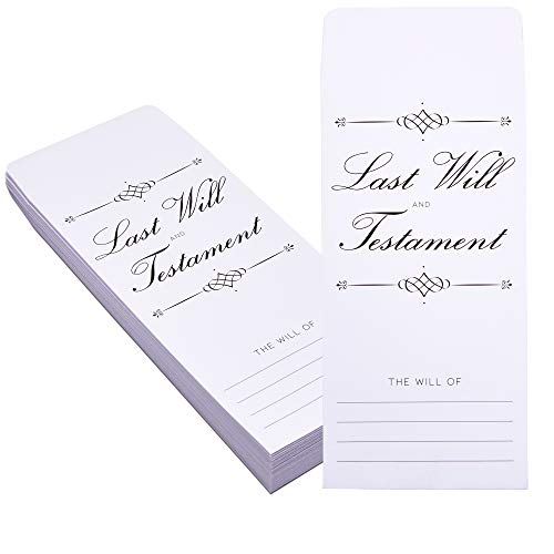 Last Will and Testament Envelopes (White, 4.75 x 9.75 Inches, 100 Pack)