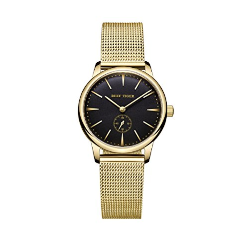REEF TIGER Damen Uhr analog Quarzwerk mit Edelstahl vergoldet Armband RGA820-WGWG