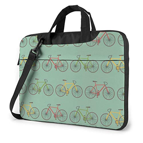 Hdadwy Adults Student Laptop Bag with 2 Pocket Protective Notebook Computer Protective Cover Anti-Collision Anti-Scratch Handbag for School College Vintage Colorful Red and Yellow Green Bicycles 14inc