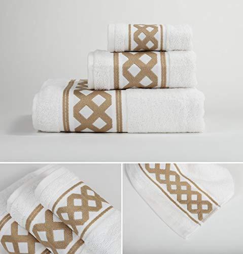 Energy Colors Textil - Hogar - Cenefa Turca - Juego de Toalla 3 Piezas 100% Algodón de 500 Gramos (Crema Marrón)