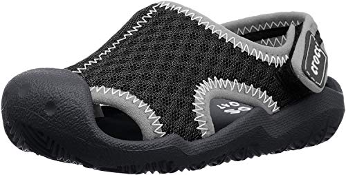 Crocs Kids' Swiftwater Sandal,Black/White,10 M US Toddler
