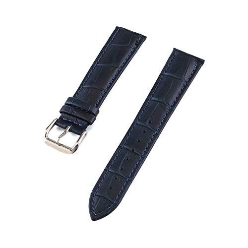Uhrenarmband-Gurt-Frau Uhrenarmbänder Lederarmband Uhrenarmband 10-24mm Mehrfarbenuhrenarmbänder, dunkelblau, 19mm