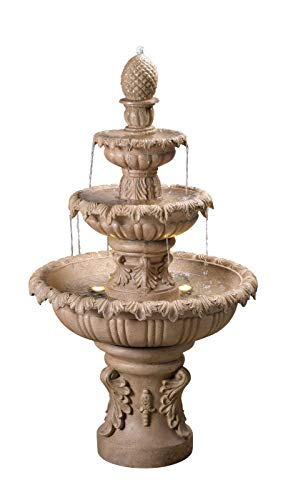 Kenroy Home 51010SNDST Ibiza Outdoor Tiered Fountain with Lights, 45' H, Sandstone Finish