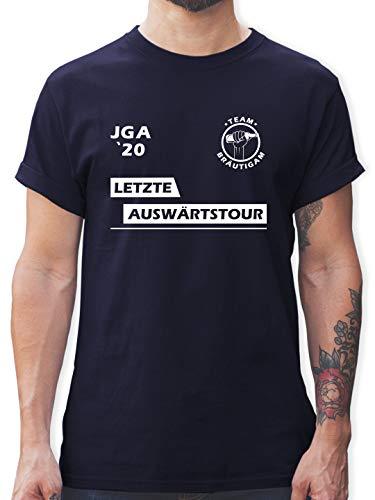 JGA Junggesellenabschied Männer - JGA 2020 Letzte Auswärtstour Team Bräutigam - L - Navy Blau - Junggesellen-Abschied - L190 - Tshirt Herren und Männer T-Shirts