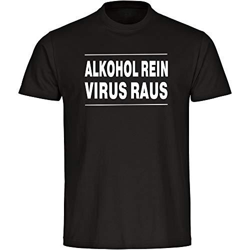 Coole-Fun-T-Shirts - Maglietta a maniche corte, da uomo, motivo: alcol puro - Virus Raus - nero, taglia S - 5XL, coronaviren covid 19 covid-19 Viren Virus Quarantäne Nero  XXXXL