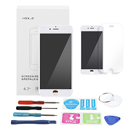 HSX_Z - Digitalizador de Pantalla táctil LCD para iPhone 6, Repuesto Completo de Pantalla Retina con Herramientas de reparación para iPhone 6, Color Negro