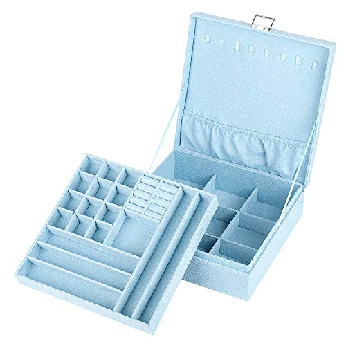 NEX Jewelry Box Organizer, 2 Layers Lint Jewelry Display Storage Case with Lock for Girls and Women(blue)