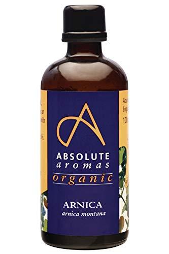 Absolute Aromas Bio Arnika Öl in Glasflasche 100 ml - Natürlicher und beruhigender Arnikaextrakt in Sonnenblumenöl - für Massage, Haut und Haarpflege