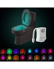 Powerole Toilet Nachtlampje PIR Motion Activated Toilet Lichtsensor LED Wasruimte Nachtlampje Binnen Toliet Lamp 16 Kleur Veranderende Batterij Operated Motion Sensor voor Washroom (16 kleuren, 1 Pack)