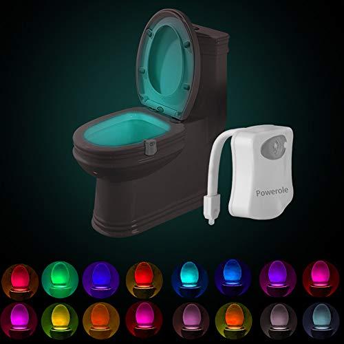 Powerole Luce Notturna WC LED Lampada con sensore di movimento PIR attivato, luce notturna a LED, 16 colori che cambiano a batteria, sensore di movimento per bagno