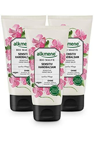 alkmene Handbalsam mit Bio Malve - Sensitiv Handcreme für empfindliche & trockene Hände - vegane Creme ohne Silikone, Parabene, Mineralöl, PEGs, SLS & SLES - Hautpflege im 3er Pack (3x 75 ml)