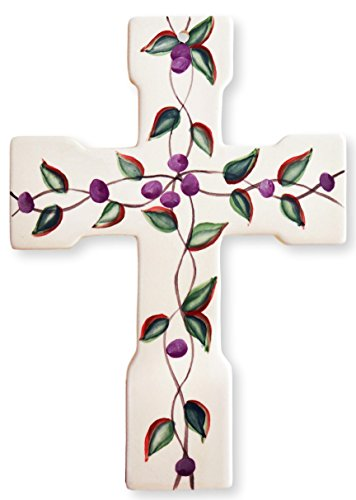 "Precious Home Collection, Purple Floral Leaf, Decoation Wall Cross 10""H, 80920 By ACK"