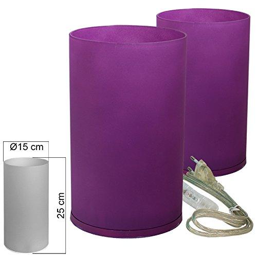 Tischleuchte Glas 2er Set lila Tischlampe E14 in Zylinder Form Höhe 25cm