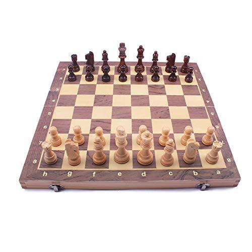 Yxxc Juego de ajedrez de Madera magnética - 2 Reinas adicionales - Tablero Plegable, portátil Hecho a Mano - Juego de ajedrez para Principiantes para niños