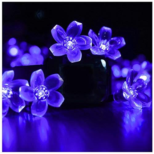 Lámpara solar de cadena de 50 luces LED impermeables para exteriores, ideal para jardín, patio, Azul