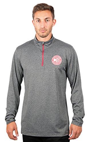Ultra Game NBA Atlanta Hawks Mens Quarter-Zip Pullover Active Shirt, Heather Charcoal18, Large