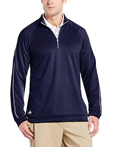adidas Men's 3-Striped Piped 1/4 Zip Sweater (2XL, Navy/White)