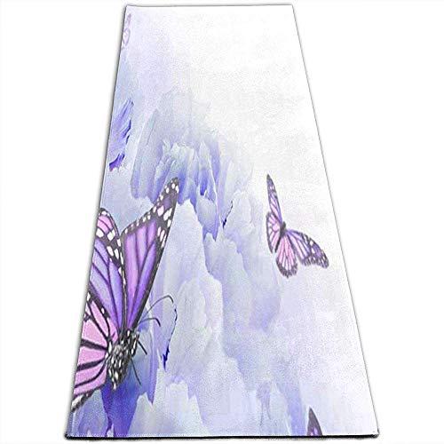 Tapis de Yoga pour Exercices de Yoga antidérapant avec Fleurs Sauvages et Papillons de Rose pour Yoga, Pilates, Exercices au Sol, Stretch [61X180Cm]
