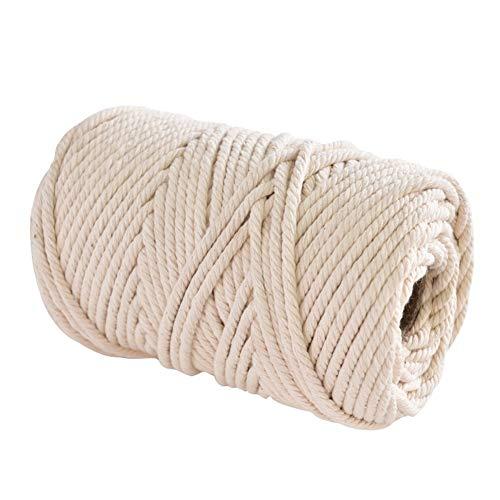 SLZC 1 mm / 3 mm / 4 mm / 6 mm / 8mm10mm Natural algodón Hecho a Mano del cordón del Hilo de Ganchillo Macrame Cuerda Colgando Tapiz Tejido Hilo de Tejer la Cuerda (Color : F 5mm 100M)