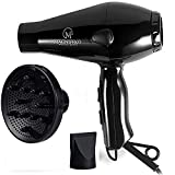 1875W Professional Hair Dryer with diffuser Ionic Conditioning - Powerful, Fast Hairdryer Blow Dryer (Red)