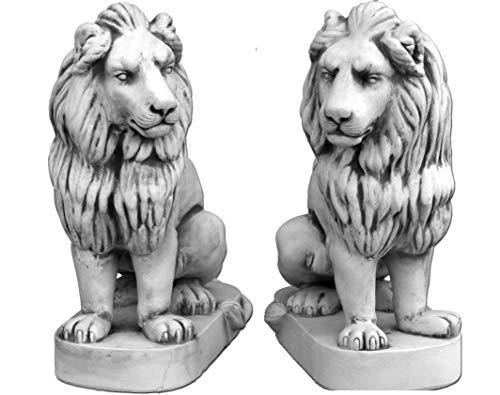 gartendekoparadies.de Offre spéciale : couple de lions géants de gardien de but MAX en pierre reconstituée, résistant au gel