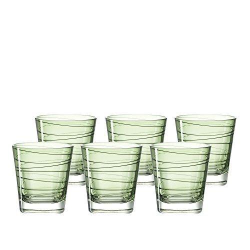 Leonardo Vario Struttura Becher klein Verde, 6-er Set, 250 ml, hellgrünes Klarglas mit Colori-Hydroglasur, 018230