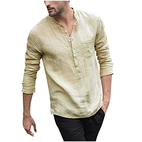 Briskorry Leinenhemd Herren Regular Fit Button-down Sommerhemd Langarm & Kurzarm Herren Hemd Shirt Freizeithemd Herren