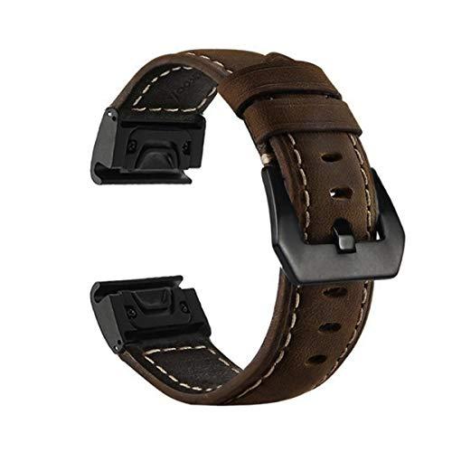 Yooside Fenix 5X Leather Band, 26mm Quick Fit Genuine Leather Replacement Watch Band Strap for Garmin Fenix 5X/5X Plus,Fenix3/3 HR,D2 Charlie,Descent Mk1,Tactix Bravo/Charlie(Brown)