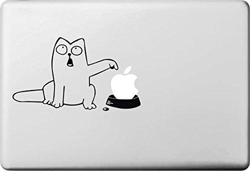 Vati Fogli smontabili Creativo del Fumetto Bianco Fat Cat Decal Sticker Art Nero per Apple MacBook PRO Air Mac 13'15' Pollici/Unibody 13'15' Laptop inch