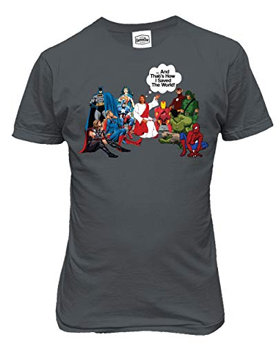 KING THREADS Jesus and Superheroes That's How I Saved The World Christian Funny Mens T-Shirt (Medium, Gray)