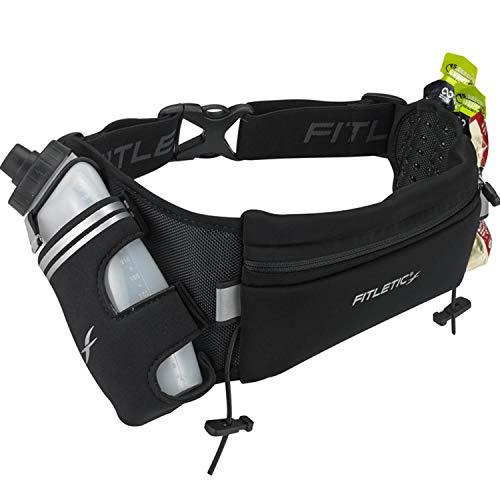 Fitletic Trail Running Belt | Patented Bounce Free Design for Endurance, Ironman, Triathlon, 5K, 10K, Marathon, Trail | HD12G-01S Fully Loaded Hydration Belt, Small/Medium, Black