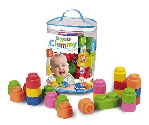 Clementoni-17134 - Soft Clemmy Bolsa 48 bloques - construcciones blanditas para bebé a partir de 6 meses