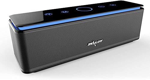 Bluetooth Lautsprecher mit Vier Treiber Zealot Tragbarer 26W Bluetooth Speaker Wasserdicht, 24h Spielzeit, 8000mAh Power Bank und Freisprechfunktion (Schwarz)
