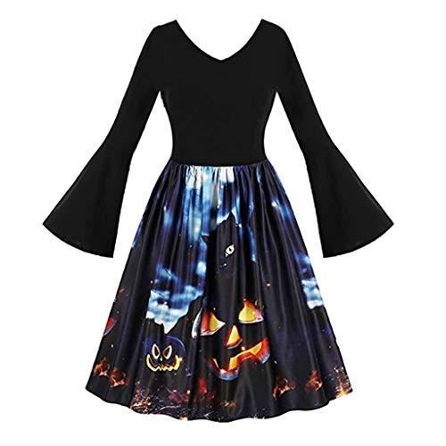 Goddessvan 2019 Women Vintage Long Sleeve Pumpkins Halloween Evening Prom Costume Swing Dress Black Maryland