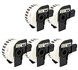 Yellow Yeti 5 Rollos DK-22225 Cintas continuas 38mm x 30.48m Etiquetas compatibles para Brother P-Touch QL-500 QL-550 QL-570 QL-700 QL-710W QL-720NW QL-800 QL-810W QL-820NWB QL-1100 QL-1110NWB