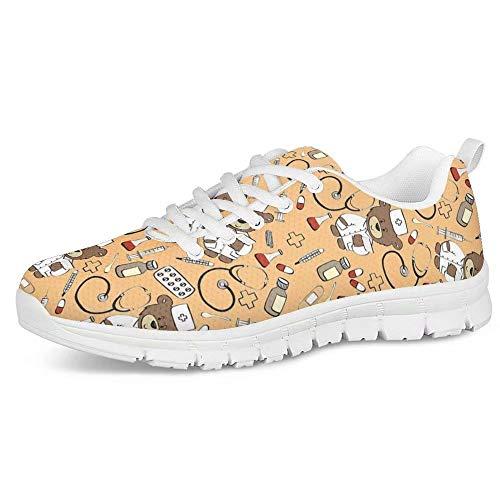 POLERO Zapatos Deportivos para Mujer, Zapatillas Planas con diseño de Osos, Zapatillas de Tenis con Cordones de Malla, Zapatos para Correr Ligeros y Casuales, EU 36,Amarillo