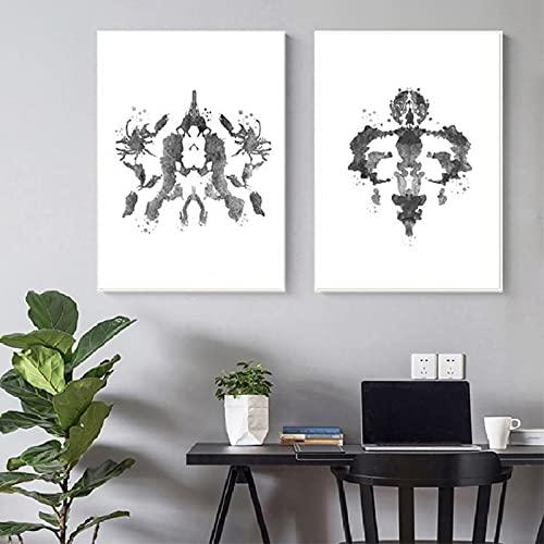 PEEKEON Rorschach Test Wall Art Canvas Pintura Psicóloga Regalo Regalo Psicológico Prueba Pósters e Impresiones Imágenes Decoración clínica 20x28x2 inch Sin marco